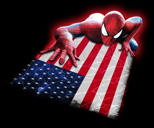 Spiderman UNITED STATES OF AMERICA Flag iron on transfer