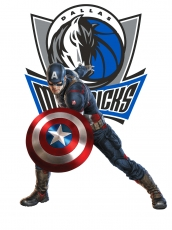 Dallas Mavericks Captain America Logo iron on sticker