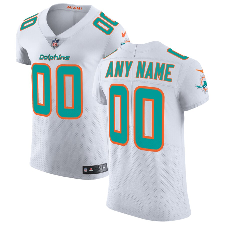 Miami Dolphins Custom Letter and Number Kits For White Jersey