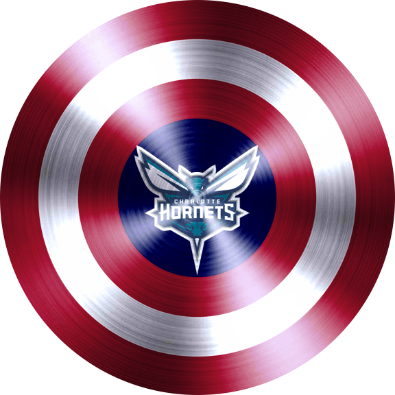 captain american shield with charlotte hornets logo decal sticker