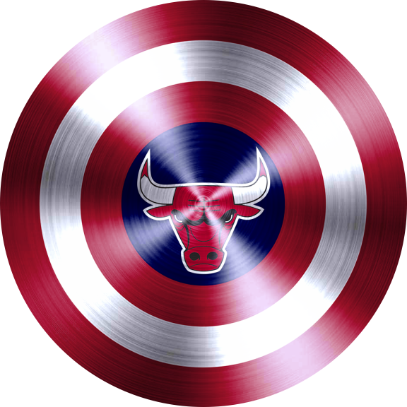 captain american shield with chicago bulls logo decal sticker