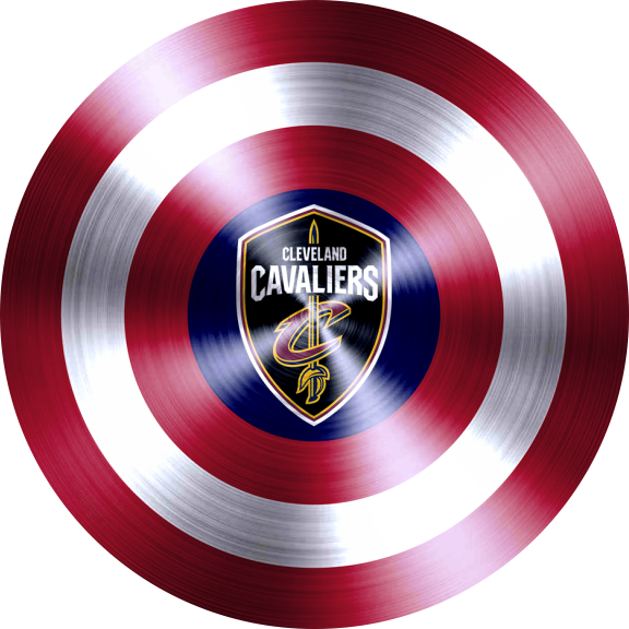 captain american shield with cleveland cavaliers logo decal sticker