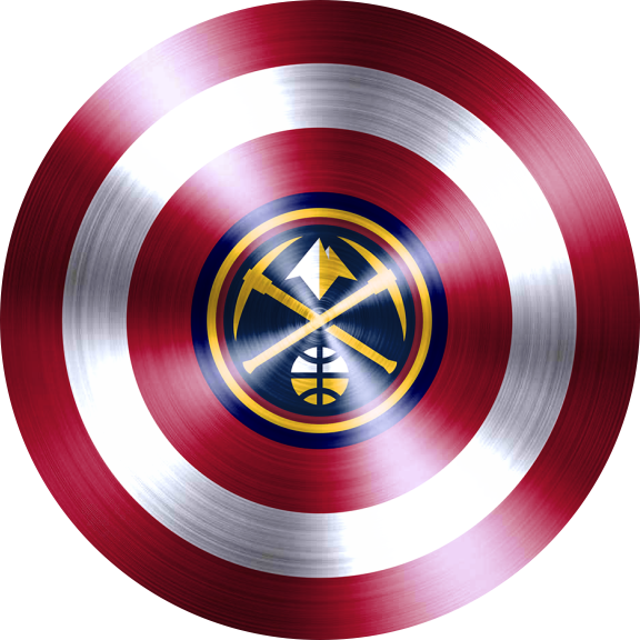 captain american shield with denver nuggets logo decal sticker
