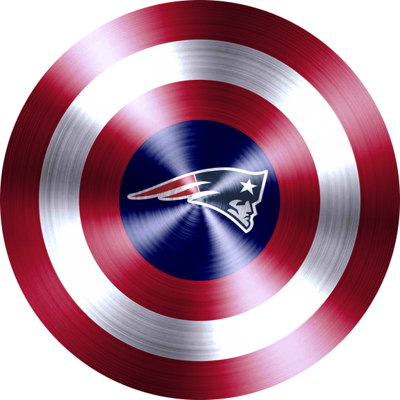 captain american shield with new england patriots logo